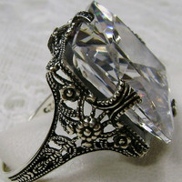 925 Art Deco gemstone Victorian Filigree ring size 6.5