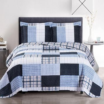 Zoe Oversized Bed Quilts Printed Reversible Blue