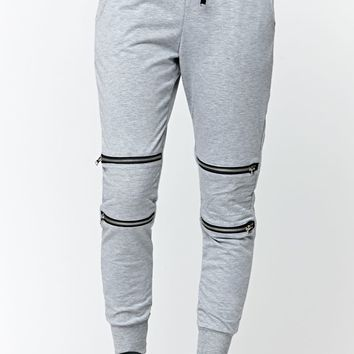 LA Hearts Double Zip Knee Jogger Pants - Womens Pants - Grey