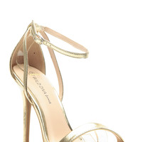 Gold Faux Leather Ankle Strap Single Sole Heels