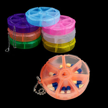 7 Days Weekly Pill Box Dispenser Organizer Container Round Holder Medicine Case