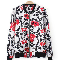 Retro Floral Print Long Sleeve Jacket
