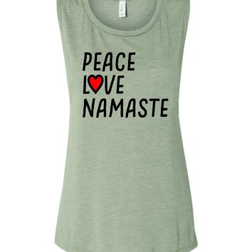 Peace Love and Namaste #namaste   Yoga Muscle Tank
