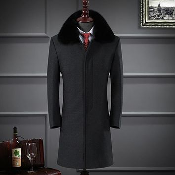XMY3DWX 2017New fashion male premium brand keep warm in winter long Cashmere jackets/middle-aged Men Heavy hair collar long coat
