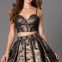 Dresses, Formal, Prom Dresses, Evening Wear: Two Piece Metallic Dave and Johnny Homecoming Dress