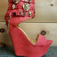 Romina Platform Wedge Ankle Shoes Lion Medallions Chain Powder Orange