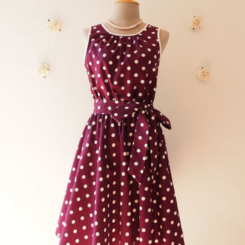 Deep Purple Dress Wine Polka Dot Swing Dress Vintage 50's Inspired Violet Tea Dress Egg Plant Bridesmaid Dress Party Dress -XS-XL,Custom