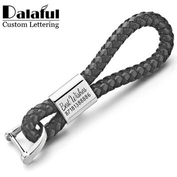 Dalaful Custom Lettering Keychains Woven Leather Detachable Keyrings Customize Personalized Gift For Car Key Chain Holder K350