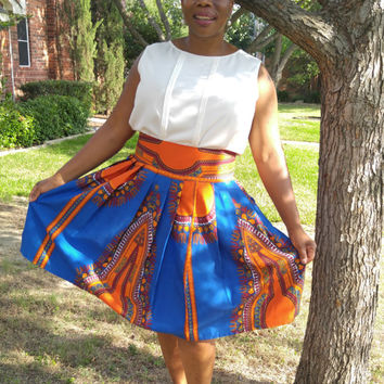 Dashiki Midi skirt, African wax, African print midi skirt,  African clothing, Midi skirt, ankara short skirt, high waist skirt, short skirt