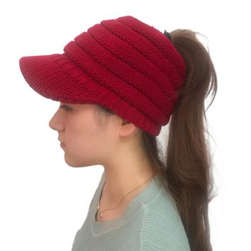2018 Solid Color Visors Women Winter Knitted