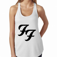 Foo Fighters Logo White Rock Band Tank Top, Lady Women Fit Tee, Sweater Hoodie Tshirt Tank Top