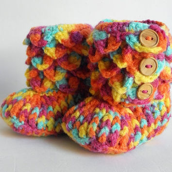Crocodile Stitch Multicolor Baby Booties, Crocheted Baby Booties, Newborn Shoes, Infant Shoes, Size: 0 - 3 months  CUSTOM OPTIONS AVAILABLE!