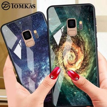 TOMKAS Tempered Glass Case For Samsung Galaxy S9 Plus Note 8 Cover Silicone Phone Cases Galaxy S9 Plus Note8 Case Cover Star Sky