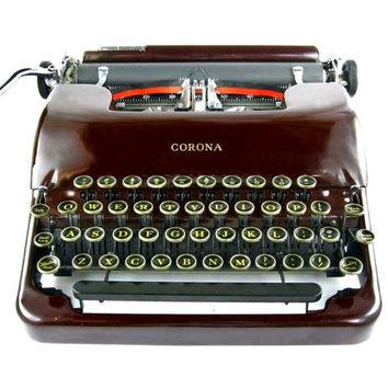 1938 Maroon Smith Corona Sterling Typewriter / Floating Shift / Original Case / Vintage Metal Ribbon Spools