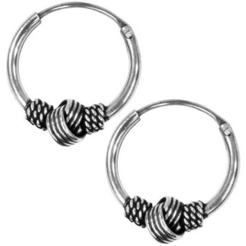 PEAPGQ9 12mm Bali Hoop Knot Earrings