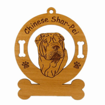 3919 Shar Pei Head Personalized Dog Ornament