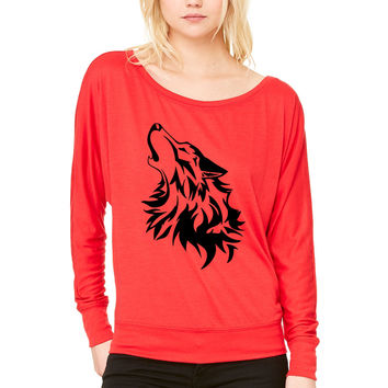 wolf WOMEN'S FLOWY LONG SLEEVE OFF SHOULDER TEE