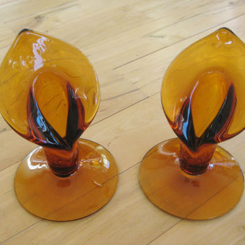 Art Glass Antique Amber Handblown Candlesticks  Set of two included