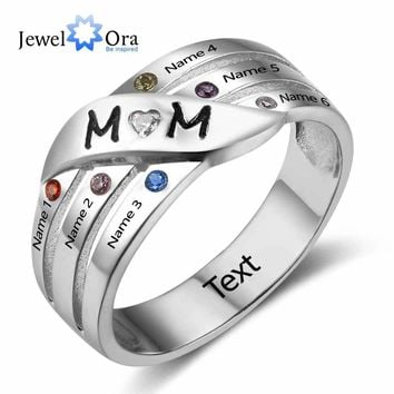 Mom's Gift Personalise Custom Birthstone Ring Engrave Family Name Love 925 Sterling Silver Rings ( JewelOra RI102740 )