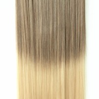 "20"" 22"" 3/4 Full Head Clip in Hair Extensions Ombre One Piece 2 Tones Straight Black Brown Blonde Red (Light brown to sandy blonde)"