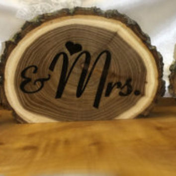 Mr. and Mrs. sign,  table numbers,  guest book sign,  table decorations,  cake table sign, wooden sign,  tree slab sign, rustic sign