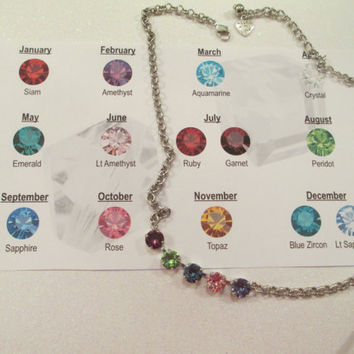 Swarovski necklace, BIRTHSTONE, custom made, colors of your choice,