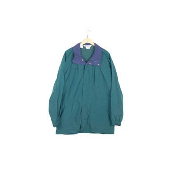 90s COLUMBIA teal rain jacket / vintage 1990s / parka / long coat / basic / classic / normcore / minimal / outdoors / mens medium - large