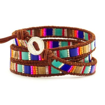 Royal Blue Mix Triple Wrap Bracelet on Natural Brown Leather - Chan Luu