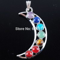 Free Shipping Natural Gem Stone Beads Healing Reiki Chakra Meditating Figure Moon Pendant Charm Jewelry 1pcs TN3256