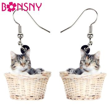 Bonsny Acrylic Cartoon Basket Kitten Cat Earrings Big Long Fashion Animal Jewelry For Women Girl Ladies Brincos Accessories Gift