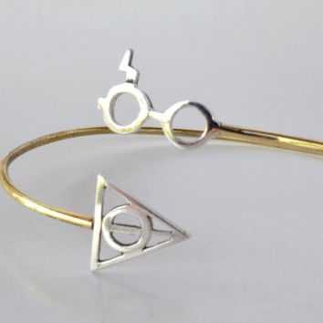 Harry Potter Cuff Bracelet Deathly Hallow Bracelet Lightning Scar Glasses Geek Fashion Jewelry Sterling Silver Brass Fashion Gift Idea