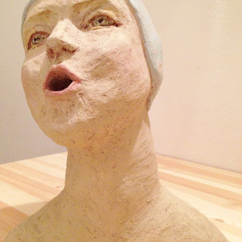 Sculpture Bust of a Swimmer Breathing - Gift idea - Painted terracotta Sculpture