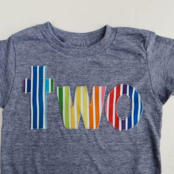 two lowercase with rainbow stripes green blue purple 1st Birthday Shirt
