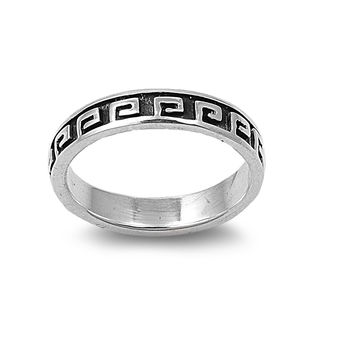 925 Sterling Silver Greek Pattern 6MM Ring