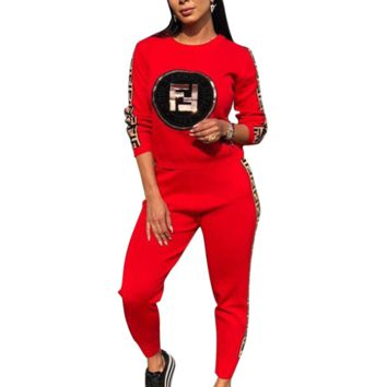 Fendi Autumn And Winter Fashion New More Letter Print Leisure Women Long Sleeve Top And Pants Two Piece Suit Red