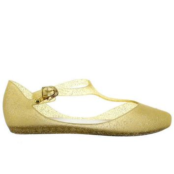 ESBONIG Makers Mint 1 - Gold Glitter T-Strap Low Wedge Jelly