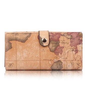World Map Leather Wallet Purse