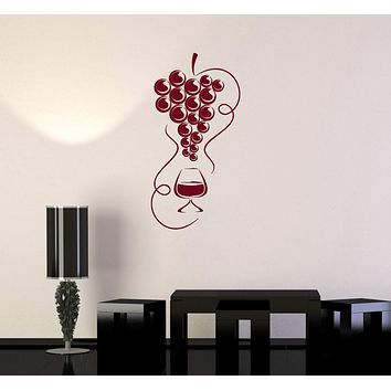 Vinyl Decal Wine Grapes Kitchen Restaurant Bar Drink Alcohol Wall Stickers Mural Unique Gift (ig2702)