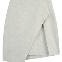 Light Gray Asymmetric Mini Skirt