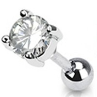16g Surgical Steel Cartilage Earring Stud Body Jewelry Piercing with 5mm Clear Round Cubic Zirconia Gem 16 Gauge Nemesis Body JewelryTM