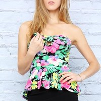 Flower Print Peplum Tube Top