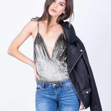 Shoulder Tie Velvet Bodysuit