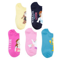Disney Beauty And The Beast Chibi No-Show Socks 5 Pair
