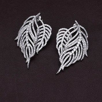 CREYD5W Pteris feather leaves full drill tassel sterling silver micro-studded earrings