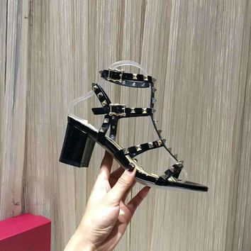 VALENTINO ROCKSTUD BLOCK HEEL CAGE 65mm SANDAL Black - Best Deal Online