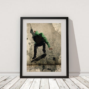 Skateboard Print Art, Urban Skateboard printable poster Wall Art Modern poster abstract digital poster print, INSTANT DOWNLOAD.