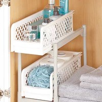 2-Tier Sliding Bathroom Storage Shelf
