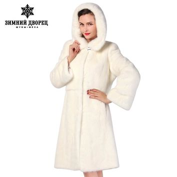 best seller Fashion Slim Fur white long mink fur coat,warm winter new mink fur coat,mink leather coat