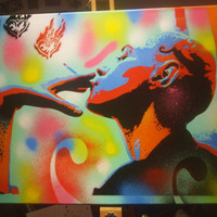 painting of woman with tattooed head,smoking heart,stencils & spraypaint on canvas,urban,graffiti,multicolored,handcrafted,punk,wall art