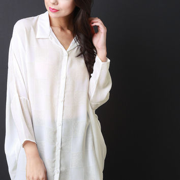 Grid Button-Up Collar Oversized Chiffon Shirt